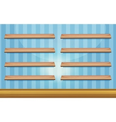 Room with wooden shelves and floor vector image