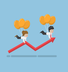 businessman flying up on balloon and help graph vector image