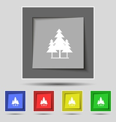 Christmas tree icon sign on original five colored vector