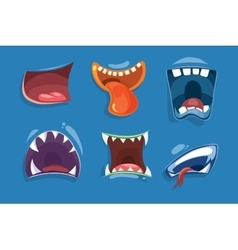 Cute monster mouths set vector image