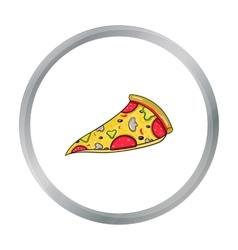 Italian pizza icon in cartoon style isolated on vector image