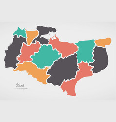Kent england map with states and modern round vector