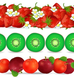 collection seamless borders with fruits on white vector image