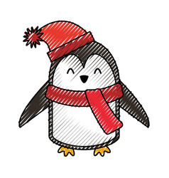 cute scribble christmas penguin cartoon vector image vector image