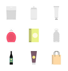 diverse blank packages icons set flat style vector image