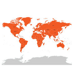 map of united nation with orange highlighted vector image vector image
