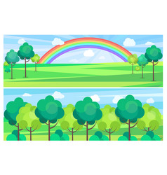 picturesque scenery landscape with color rainbow vector image