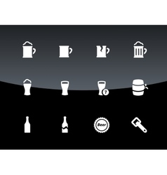 Bottle and glass of beer icons on black background vector image