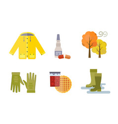 collection of autumn clothes set items the fall vector image vector image