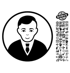 Rounded Gentleman Flat Icon With Bonus vector image vector image