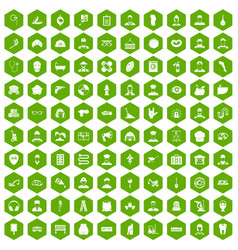 100 different professions icons hexagon green vector