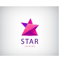 3d origami star logo red and purple vector