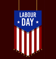 American or usa labour days banner in badge style vector