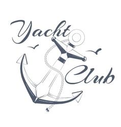Anchor logo text yacht club vector image