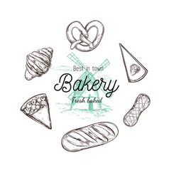 bakery hand drawn top view vector image