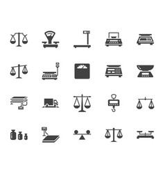 Balance flat glyph icons set weight measurement vector