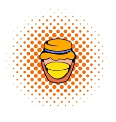Bank with honey icon comics style vector