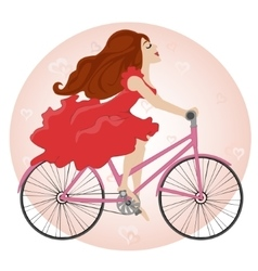 Beautiful young girl rides a Bike vector