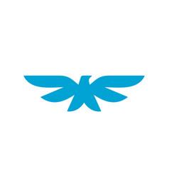 bird heraldic style symbol blue color icon vector image