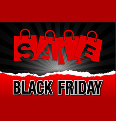 black friday sale bags on dark background with vector image