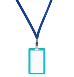 Blank badge with blue neckband vector image