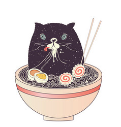 bowl of ramen and black cat vector image