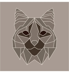 Brown and beige low poly bobcat vector