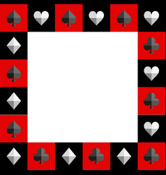 Card suit chess board red and black border vector