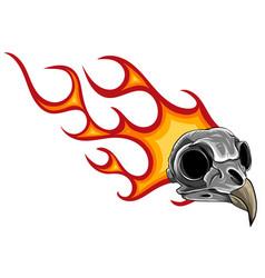 cartoon a bird skull with flames vector image