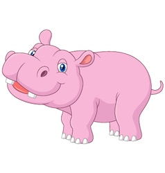 Cartoon baby hippo posing isolated vector image