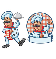 Cartoon set of happy chef vector