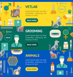 cartoon veterinary and grooming banner horizontal vector image