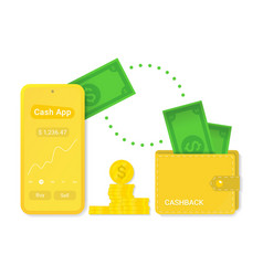 cash app with cashback isolated sign symbol vector image