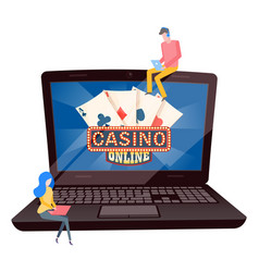 casino online sign on laptop screen image vector image