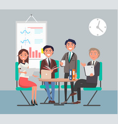 Cheerful business people color vector