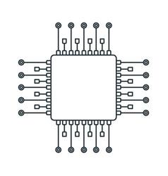 Chip processor line icon accessories for digital vector