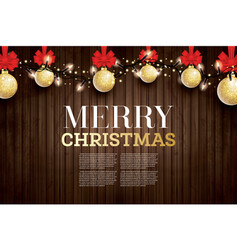 christmas greeting card with golden glitter vector image