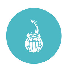 circle light blue with earth globe and paper plane vector image