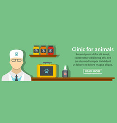clinic for animals banner horizontal concept vector image