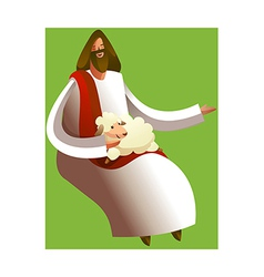Close-up jesus christ sitting with sheep vector