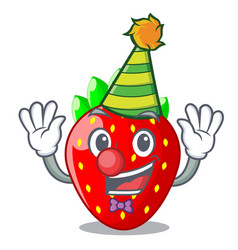 clown fresh strawberry in a bowl cartoon vector image