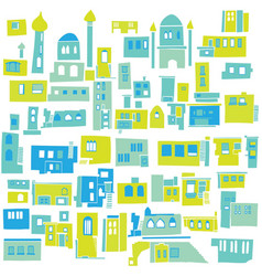 Color hindu arabian urban architectural blue city vector