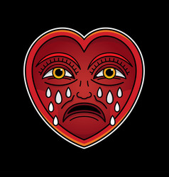 cry heart tattoo vector image