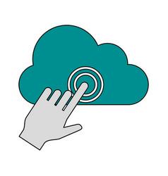 cursor clicking on cloud storage icon image vector image