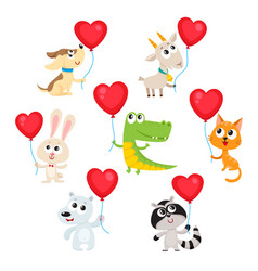 Cute and funny baby animals holding red heart vector