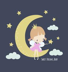Cute little fairy in pink dress on moon vector