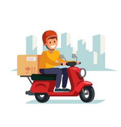 Delivery man riding red motor bike vector