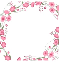 Detailed contour square frame with herbs roses vector image