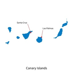 Detailed map of Canary Islands and capital city vector