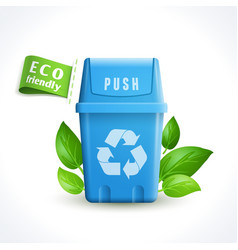 Ecology symbol trash can vector